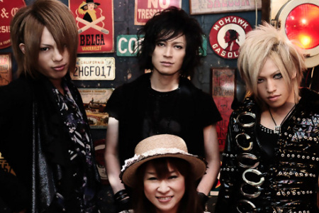 Japanse woman with visual kei bands