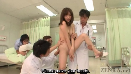 Embarrassed nudist Japanese woman surrounded by doctors