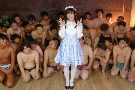 Japanese maid surrounded by ogrish men