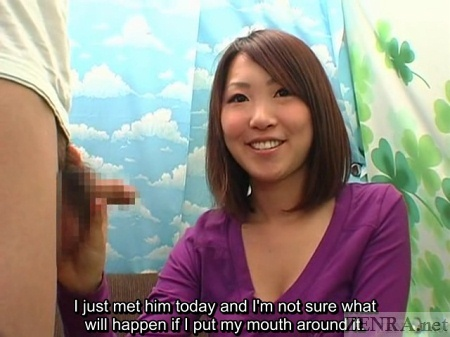 CFNM Japanese smiling amateur holds erection