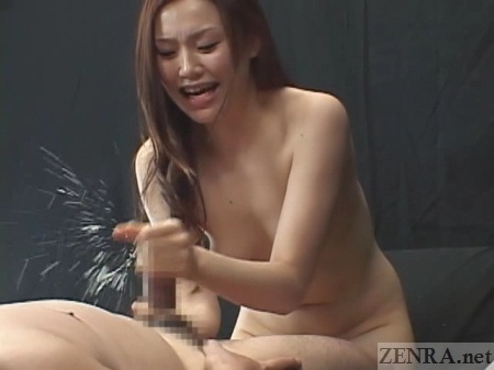 Explosive male orgasm by naked Japanese woman