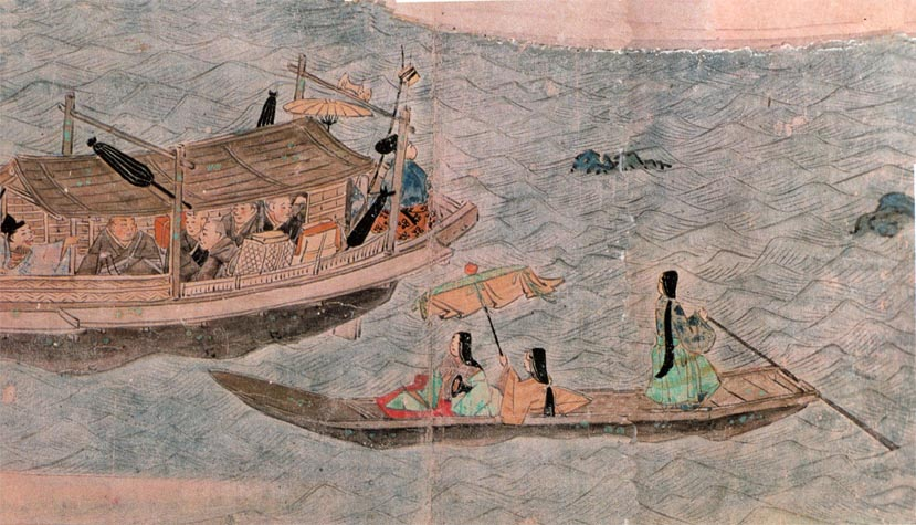 Traditional Japanese prostitutes on boat