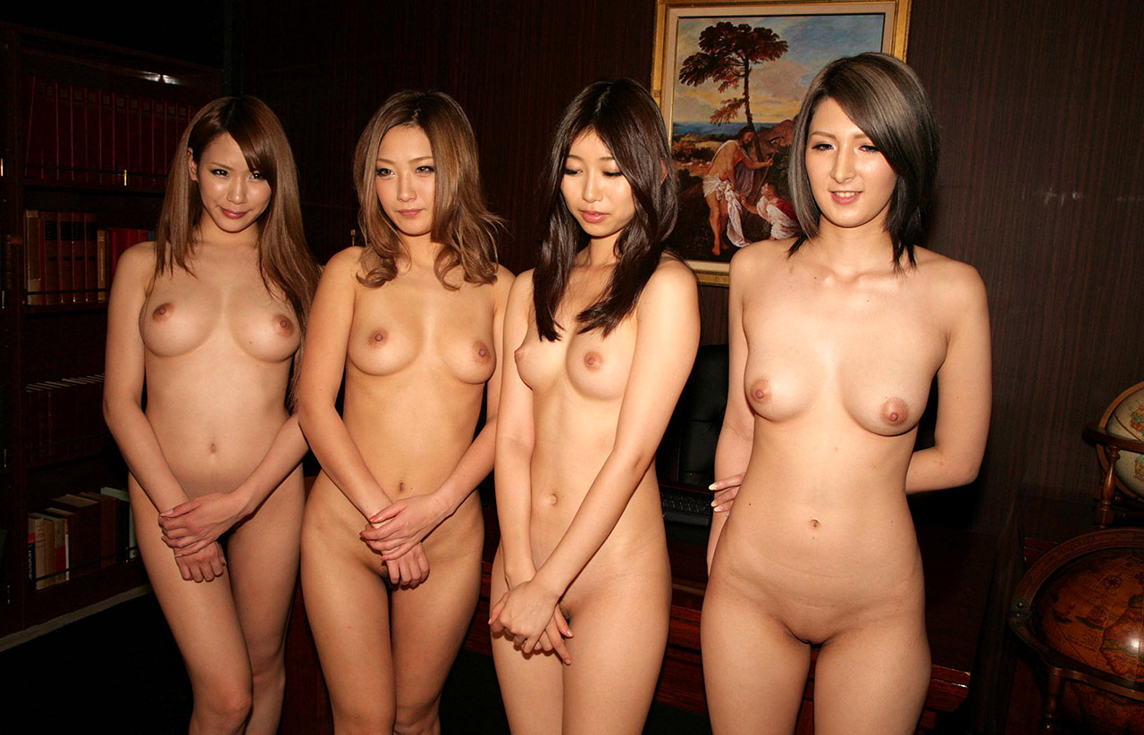 Embarrassed naked Japanese women