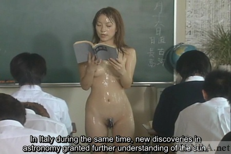 Nudist CMNF Japanese teacher covered in semen